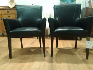 New Black Leather Dining Chairs
