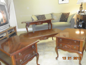 Solid Wood Coffee Table, 2 End Tables , Sofa Table by Kroehler