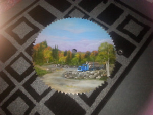 Hand painted antique saw blade