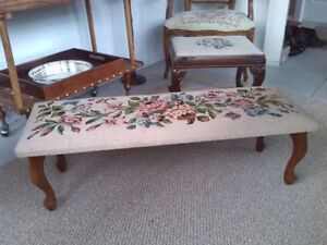 Needlepoint bench footstool