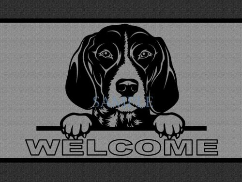 German Shorthaired Pointer Peeking Over Welcome Home Doormat Door Mat Floor Rug