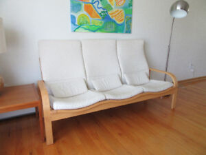3-Seater Solid Wood Sofa