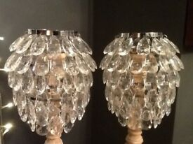 Crystal effect ceiling light pendants x2