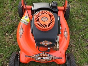 Harley themed Lawn Mower=Looks good-Runs strong-All tuned up.