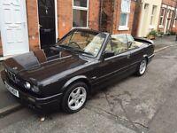 BMW e30 320i Convertible M20 black M-tech kit tan leather manual petrol