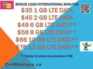 TELUS KOODO Plans 6GB/8GB/10GB/12GB LTE $49/$56/$66/$76 per mo