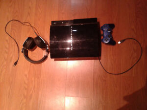 Playstation PS3 with controller and wireless stereo headset
