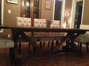 Rustic real wood harvest dining table