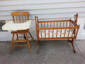 Maple Wood high chair and cradle by Fisher Price.
