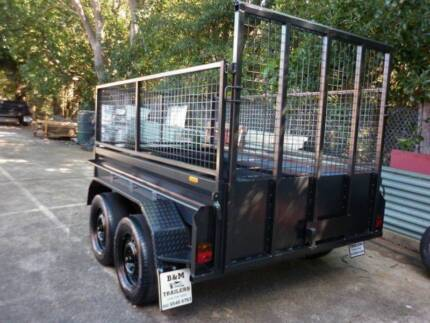 8x5 brand new high side tandem trailer+cage with ramp
