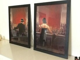 Pair of large framed pictures, 'Cigar Bar' by Brent Lynch