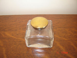 Antique Pocket Traveller's Inkwell with Brass Threaded Closure