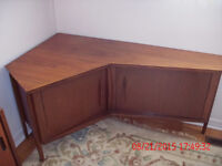 UNIQUE HAND CRAFTED CORNER TEAK CABINET AND TABLE