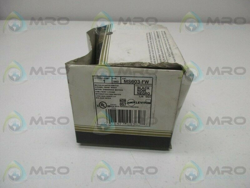 LEVITON MS603-FW MOTOR STARTER SWITCH * NEW IN BOX *
