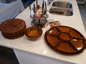 Complete fondue set for 6 - circa 1960