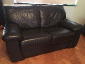Brown Leather 2 seat sofa - excellent condition