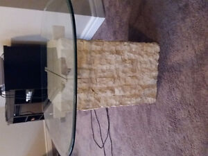 Solid marble and glass tables