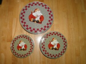 Three Sets of 3 of Christmas Cookie Tins