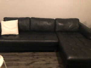 Leather Couch with chaise.