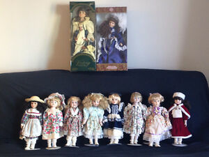 Porcelain Dolls with Stands in Mint Condition - Price Reduced