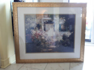 "Golden frame ""Garden and Doorway"" painting"