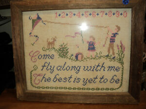 "VERY OLD NEEDLEPOINT PICTURE WITH BARBOARD FRAME 14"" x 16"" Windsor Region Ontario image 1"