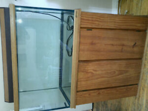 @ 60 gallon glass tank with storage stand.