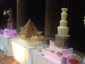 Chocolate fountains, Candy Cart, Ferrero Tower, Fruit Trees, Mobile Cocktail Bar