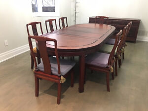 Rosewood Antique Dining Table, Side Board, and 8 Chairs