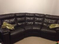 DFS Full leather Chocolate Brown corner sofa