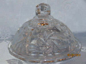 Pin Wheel Crystal Covered Butter Dish