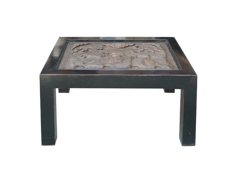 Chinese Heavy Thick Concrete W Lamb Longevity Peach Lu-Yi Art Coffee Table cs578