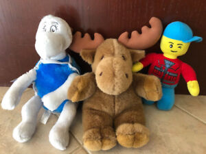 1 MOOSE, YERTLE THE TURTLE, AND LEGO MAN TOY PLUSH OR STUFFIES