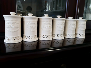 Brand new Herb and spice lace china pots with lids, set of 5 Rangeville Toowoomba City Preview