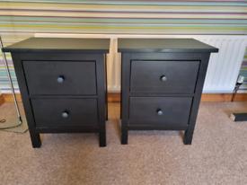 Ikea Hemnes Bedside Drawers - Black Brown