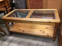 Pine and glass coffee table