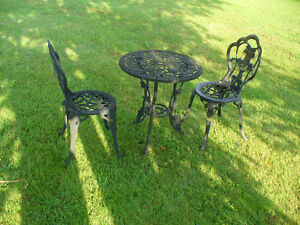 2 sets: Cast Iron Vintage Bistro Patio Table & 2 Chairs