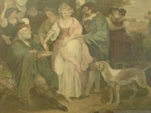 Large Antique Shakespeare Winters Tale Etching Print