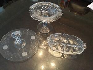 Grands Plats de service en cristal/verre taillé/verrerie
