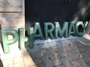 "VINTAGE EXTERIOR ""PHARMACY"" & ""DRUGS"" HEAVY PLASTIC LETTERS"
