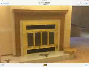 Wood fireplace insert and mantle