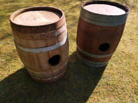 **SOLD** 2 Small Rustic Old Oak Barrels