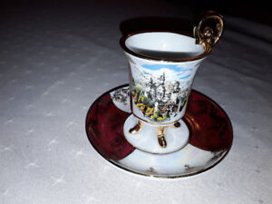 FINE CHINA ESPRESSO FOOTED CUP AND SAUCER, BAVARIA