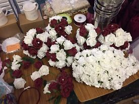 Wedding flowers burgundy and white