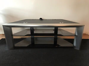 TV Stand c/w smoked glass shelves