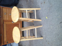 Two Wooden Bar Counter Height Stools.  Excellent condition.