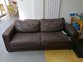 Brown leather double sofa bed furniture Village dimensions on photos