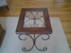 GLASS TOP TABLE WOOD WITH METAL FEATURES