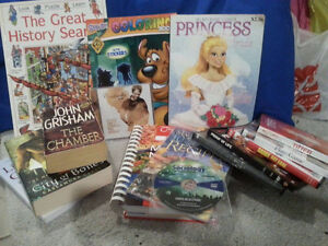 Adult and children books, coloring books, DVDs etc