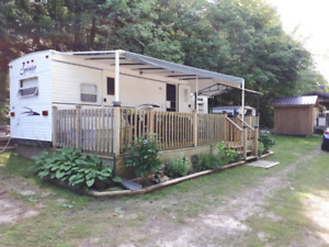 NEW PRICE ! Trailer on Lot with Storage Shed, Or Best Offer!